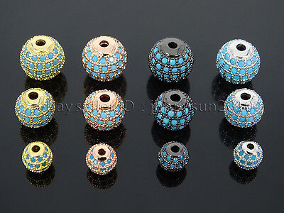 Zircon Gemstones Pave Turquoise Round Ball Bracelet Connector Charm Spacer Beads 2