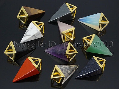 Natural Gemstones Pyramid Pointed Reiki Chakra Healing Pendant Charm Beads Mix