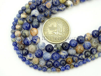 Natural Orange Sodalite Jasper Gemstone Round Spacer Beads 15.5'' 4mm 6mm 8mm