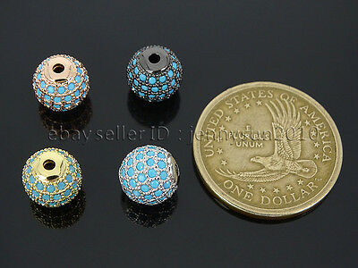 Zircon Gemstones Pave Turquoise Round Ball Bracelet Connector Charm Spacer Beads 5