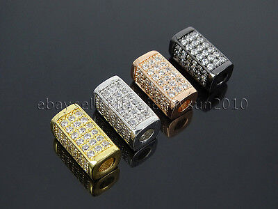 Zircon Gemstones Pave Rectangle Bar Bracelet Connector Charm Beads Gold Silver 2