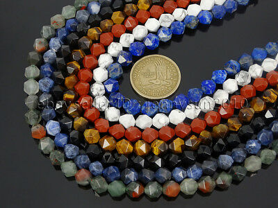 Natural Gemstones 24 Faceted Polygons Spacer Beads 14.5'' Strand 6mm 8mm 10mm 4