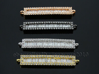 Rectangular Shape Clear Zircon Gemstones Pave Bar Bracelet Connector Charm Beads 4