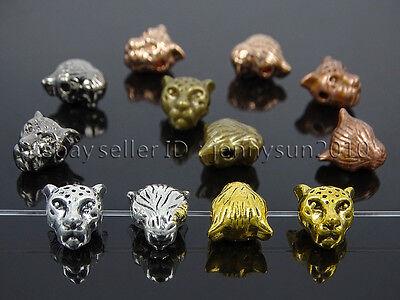 Solid Metal Leopard Head Bracelet Connector Charm Beads Silver Gold Gunmetal 2
