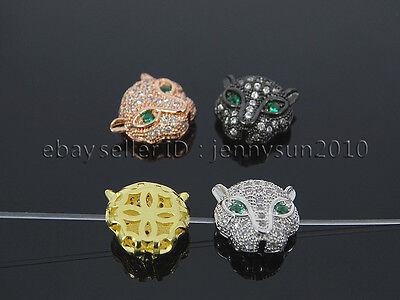 Zircon Gemstones Pave Leopard Head Bracelet Connector Charm Beads Silver Gold 2