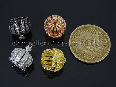 Clear Zircon Gemstones Pave Exquisite Crown Bracelet Connector Charm Beads 4