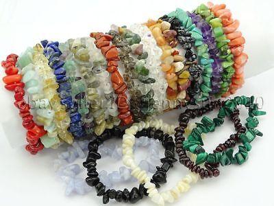 Natural Gemstone 5-8mm Chip Beads Stretchy Bracelet Healing Reiki Chakra 2
