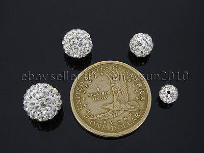 10Pcs Quality Czech Crystal Rhinestones Pave Clay Round Disco Ball Spacer Beads 4