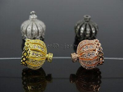 Clear Zircon Gemstones Pave Exquisite Crown Bracelet Connector Charm Beads 2