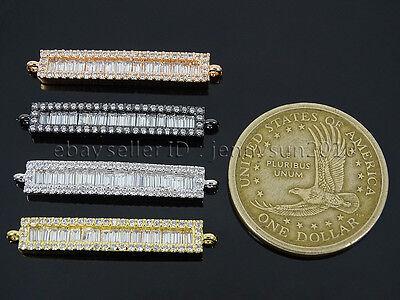Rectangular Shape Clear Zircon Gemstones Pave Bar Bracelet Connector Charm Beads 3