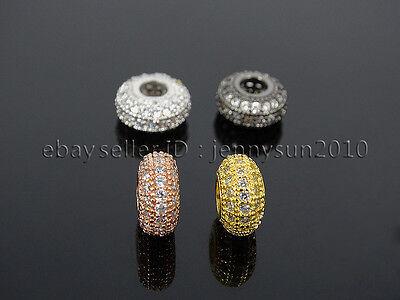 Three Rows Zircon Gemstone Pave Big Hole Rondelle Bracelet Connector Charm Bead 3