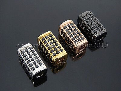 Zircon Gemstones Pave Rectangle Bar Bracelet Connector Charm Beads Gold Silver 6