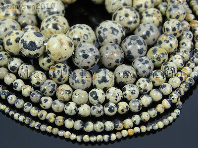 Natural Dalmation Spot Jasper Gemstone Round Beads 15.5'' 4mm 6mm 8mm 10mm 12mm