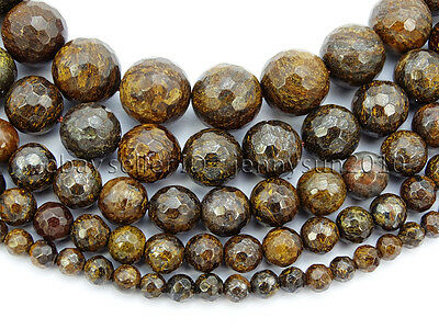 "Natural Bronzite Jasper Gemstone Faceted Round Beads 15"" 4mm 6mm 8mm 10mm 12mm"