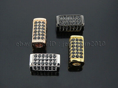 Zircon Gemstones Pave Rectangle Bar Bracelet Connector Charm Beads Gold Silver 4