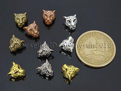 Solid Metal Leopard Head Bracelet Connector Charm Beads Silver Gold Gunmetal 4