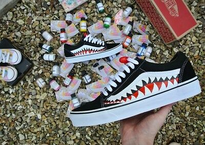 899de827a9df10 1 of 4 Vans Old Skool x Bape Custom and Shark Teeth Camo UK Size 8 Coocu  Customs
