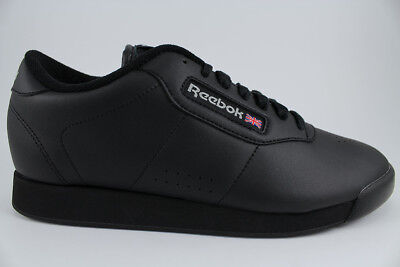 6179d6315c458 ... Reebok Princess Wide Width D Triple Black Classic Walking Casual Us  Womens Sizes 2