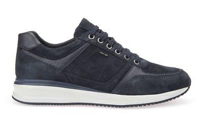 Dettagli su GEOX Scarpa uomo DENNIE U920GA C9999 sneakers nappa NERO ammortizzzante ai 19