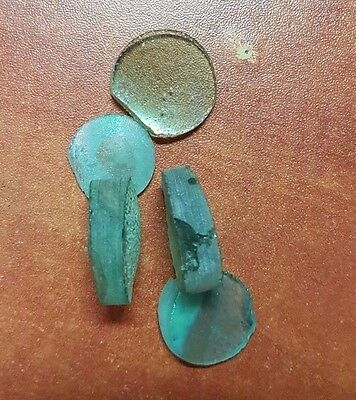 5 Ancient Roman glass fragments cut for jewelry 7
