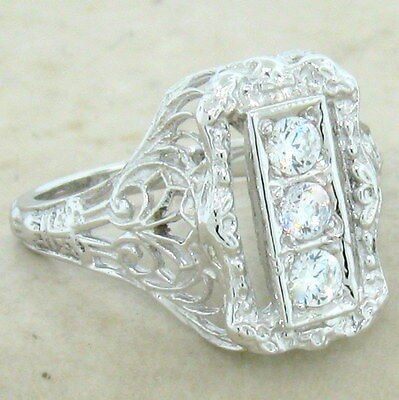 Art Deco Antique Style 925 Sterling Silver Cz Ring,                         #699 2