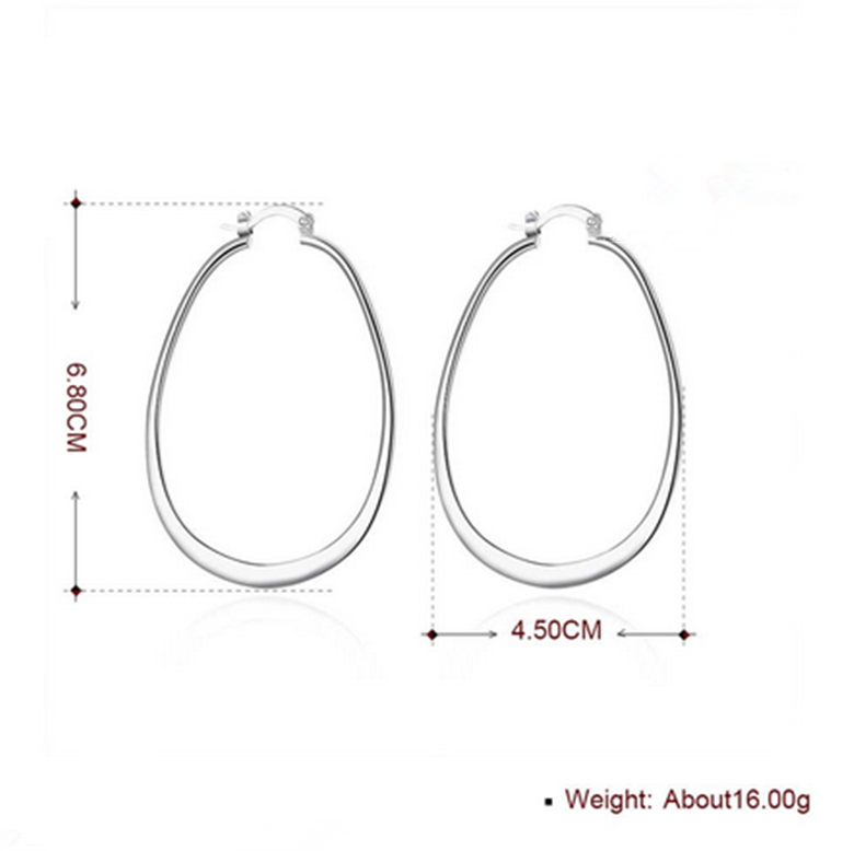 Womens 925 Sterling Silver Elegant Oval Shaped Extra Large Hoop Earrings #E45