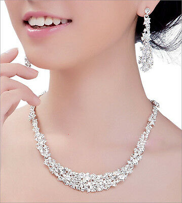 Silver Women Bridal Bridesmaid Wedding Jewelry Sets Necklace Earrings Set Gifts 6