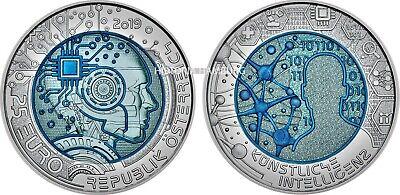 Österreich 25 Euro 2019 Künstliche Intelligenz Silber Niob Münze handghoben 2