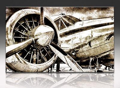 Propellerflugzeug auf LEINWAND Retro DEKO KUNSTDRUCK BILD WANDBILD Panorama 736