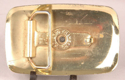 "Covered Wagon Belt Buckle-Metal-Chambers Belt Co. USA-Vtg Western-Fits 1.5"" Belt 3"