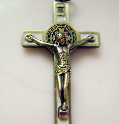 "Ancient bronze Enamel Crucifix 1.65 "" jesus cross Catholic rosary pendant 3"
