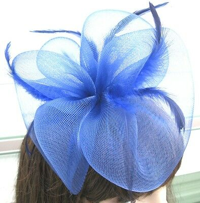 navy blue fascinator millinery feather brooch clip wedding hair piece ascot 1 3