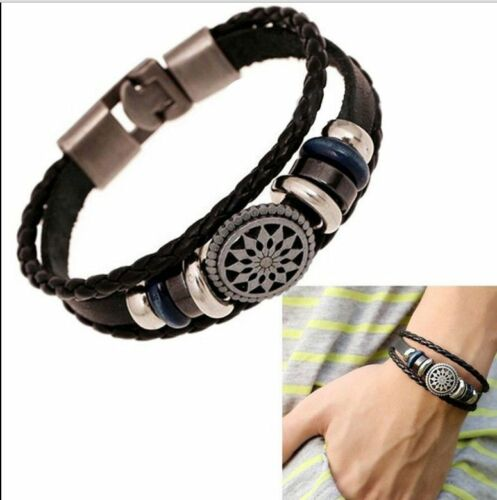 Fashion Retro Multilayer Leather Wristband Bracelet Cuff Bangle Men Women Unisex 8