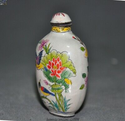 Marked Ancient dynasty China bronze Cloisonne Plum blossom Magpie snuff bottle 5