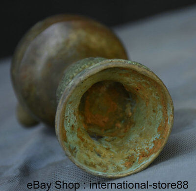 """8.2"""" Antique Chinese Bronze Dynasty Palace an Ancient Wine Vessel Drinking Cup 9"""