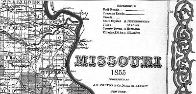 1855 MISSOURI MO MAP Republic Richmond Heights Rolla Sappington Sedalia Sikeston