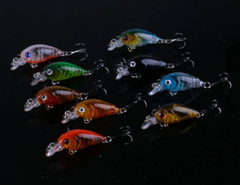 5pcs Fishing Lures Crankbaits Treble Hooks Randomly Baits Tackle Bass Minnow 4