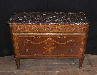 Antique French Empire Chest Drawers Commode Circa 1920 Marquetry Inlay 7