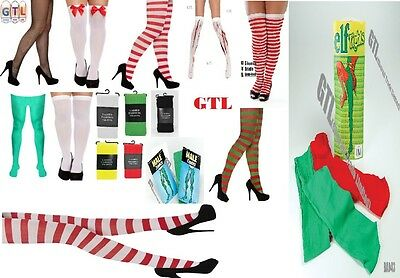 2 of 3 New Ladies Men s Tights   Stockings Elf Green Christmas Fancy Dress  Accessory 32ccd43126a
