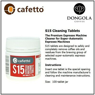 100 CAFETTO S15 Super Automatic Espresso Coffee Machine Cleaner Cleaning Tablets