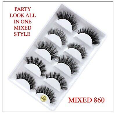 UK 5 Pairs 3D Fake Eyelashes Long Thick Natural False Eye Lashes Set Mink Makeup 11