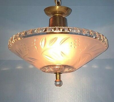 """Antique Pendant Light 12"""" Wide Frosted Etched Shade Glass Finial Great Patina 2"""