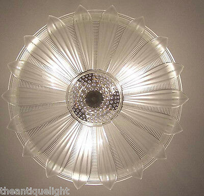 334 Vintage 30's 40's Ceiling Light Lamp Fixture  Chandelier Re-Wired SUNFLOWER 10
