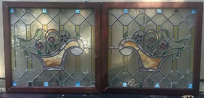 1 of a matched pair of floral stained glass windows 3