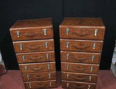 Pair Leather English Campaign Chest Drawers Colonial Tall Boys Luggage 6