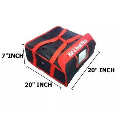 "2 PIZZA DELIVERY BAGS (20""x 20""x 7"") Full Insulated  Heavy Duty (1 Red+1 Black) 4"