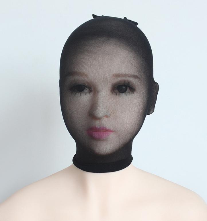 Unisex Fetisch Maske Cosplay Bondage BDSM Nylon Strumpfhosen-Stoff schwarz 6
