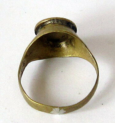 AMAZING BRASS RING FROM THE EARLY 20 th c.WITH ENGRAVING ON THE TOP # 85A 5 • CAD $25.15