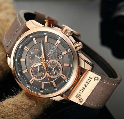 Men Waterproof Leather Aviator Army Military Chronograph Date Quartz Wrist Watch 7
