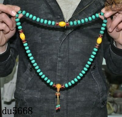 """16""""Old Tibetan Buddhism temple Beeswax turquoise Exorcism amulet necklace statue 4"""